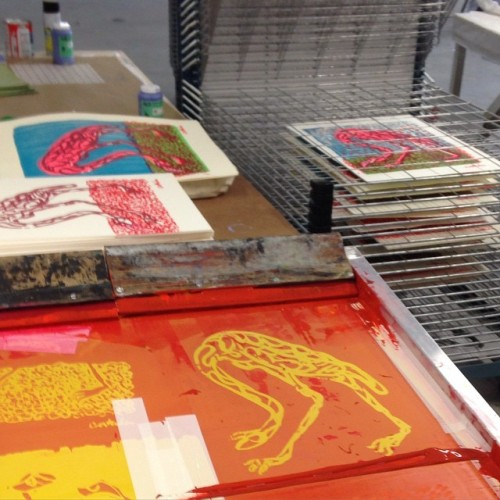 Silkscreening my version of ‪#‎Audubon‬'s flamingo in ‪#‎Rauschenberg‬'s ‪#‎studio‬...