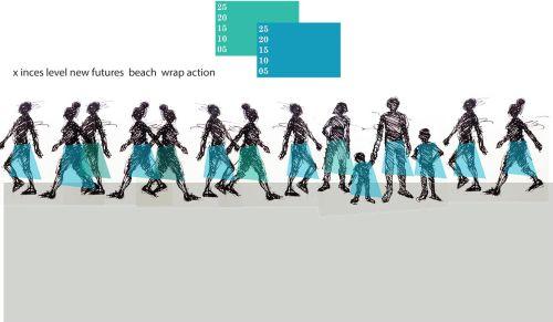 Blue Sarong: Parade of Solidarity (Drawing by Chris Cozier)