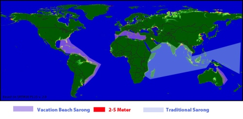 Sarong Distribution and Areas of Rising Sea Levels